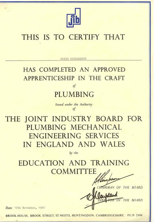 Robin Richardson Plumbing Amp Heating Qualifications